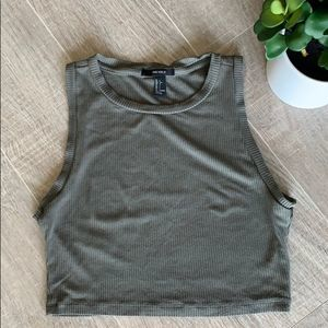 Forever 21 Olive Green Ribbed Crop Top Size Large
